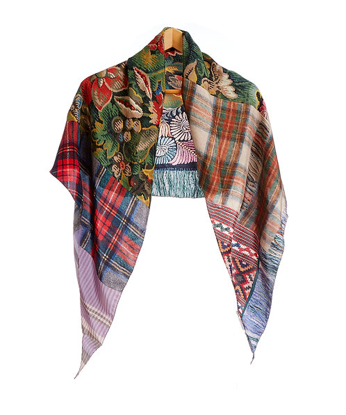 ALOEUW/SW-100X100RN - Floral and Plaid Print Scarf