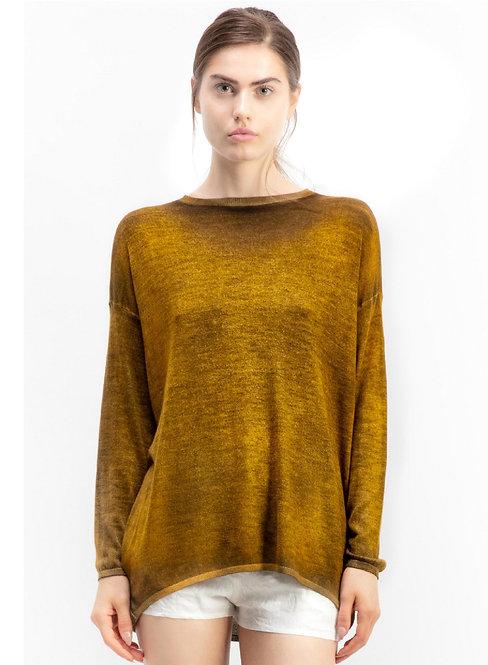 Boat neck cashmere/silk off gauge pullover