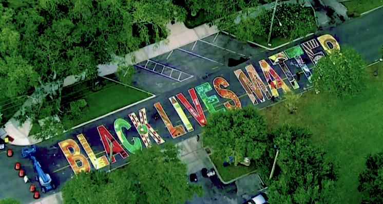Aerial shot of Black Lives Matter street Mural in St. Petersburg, FL