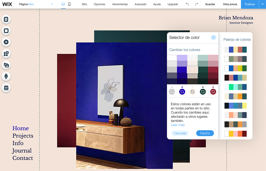Eligiendo colores para página web en el editor de wix