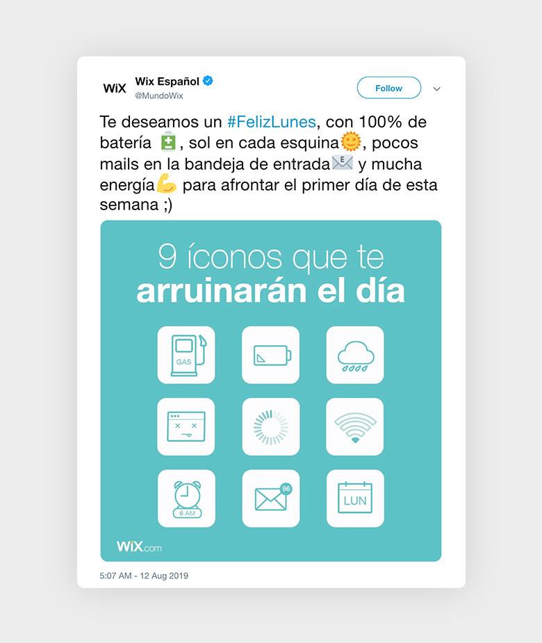 Ejemplo de Hashtag de Feliz Lunes con iconos de movil
