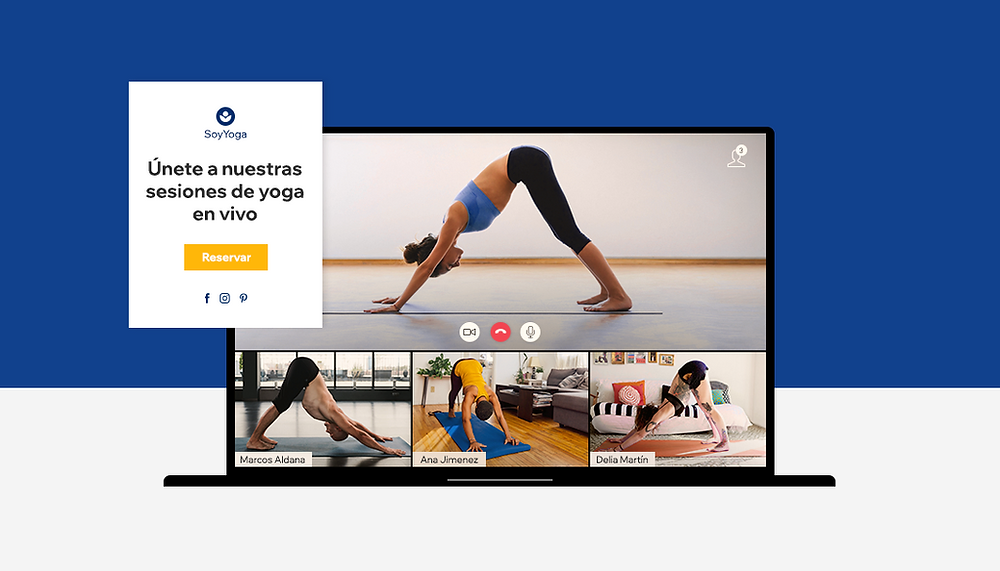 Sesión de yoga online  vía Zoom en una web de Wix