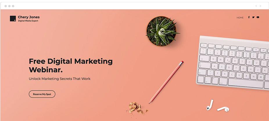 ejemplo de plantilla web de Wix para webinarios