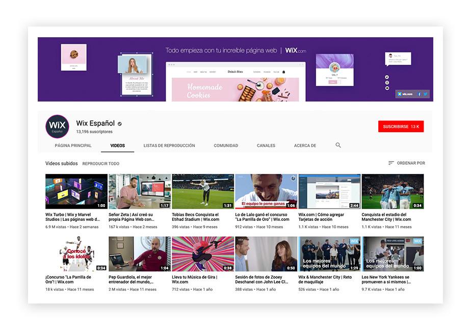 Imagen de la página de inicio del canal de Wix en Youtube