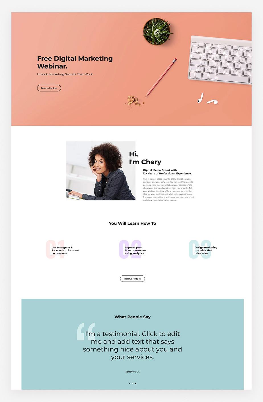 Ejemplo de plantilla web para crear Landing Page