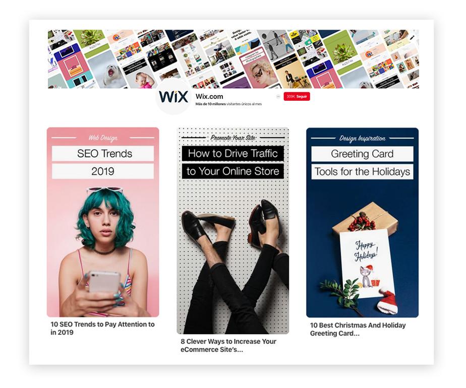 Ejemplo de imagenes del tablero de Pinterest de Wix