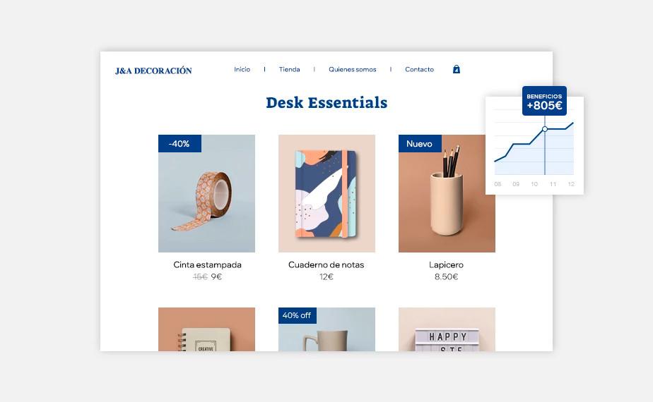 Página de productos en una tienda online de Wix