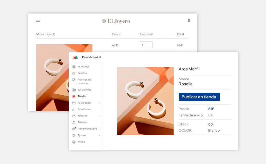 Panel de control de tienda online de Wix conectada a Printful