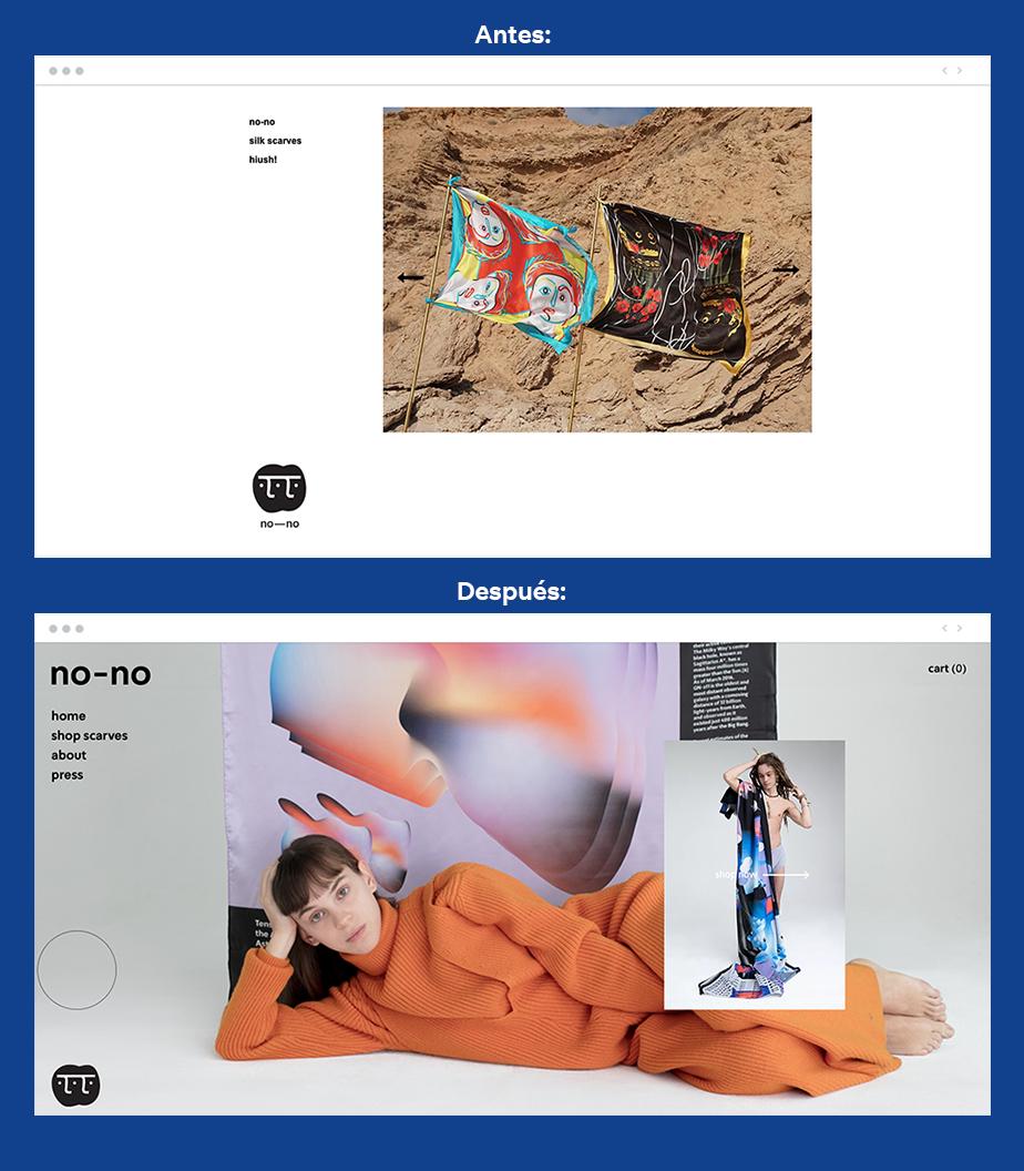 Ejemplos de antes y despues de actualizar una pagina web