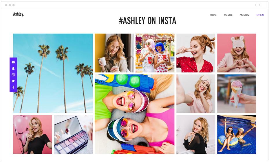 Fotos de página web de influencer