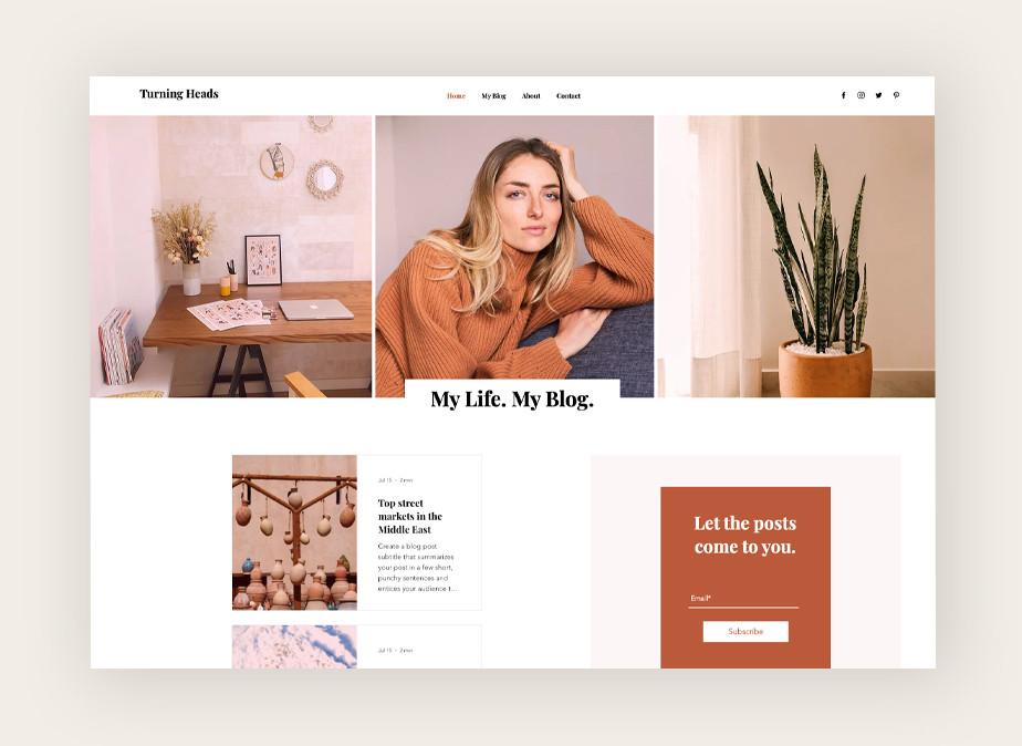 Ejemplo de  plantilla web para blogs de Wix