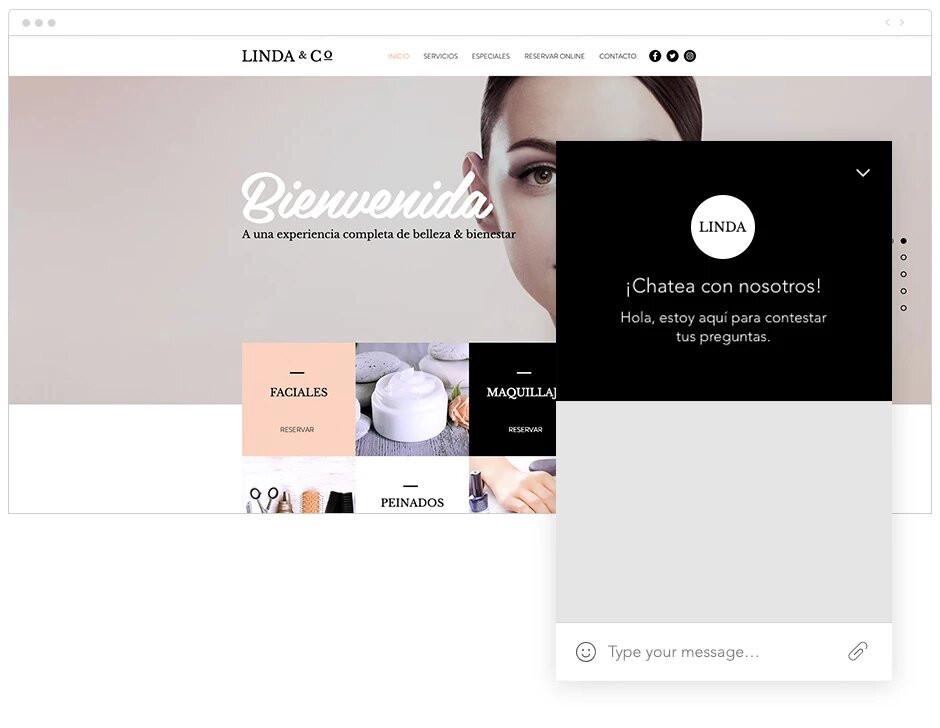 Ejemplo de aplicación chat en página web creada con Wix