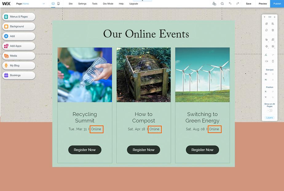 plantilla de eventos online en el editor de wix