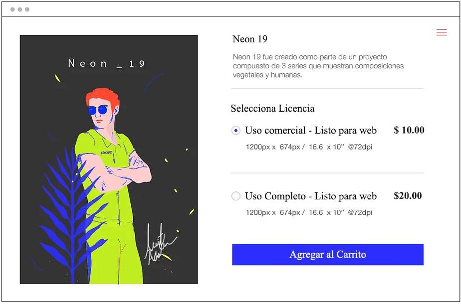 Ejemplo de pagina de compra de una tienda online