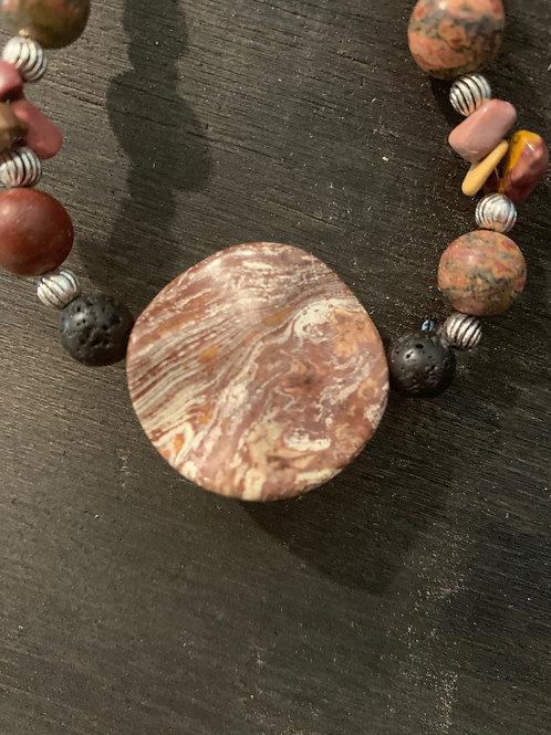 Necklace-Red Jasper, Moss Agate, Lava stone, Round pendant