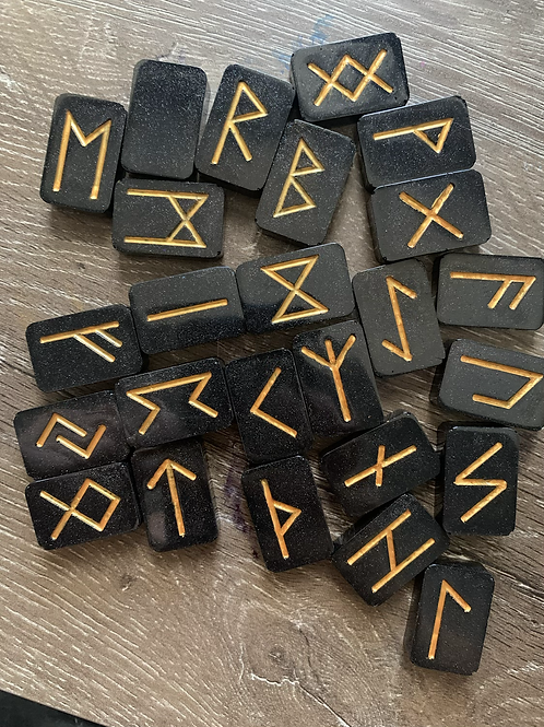 Viking runes  full set  (resin poured and hand painted)