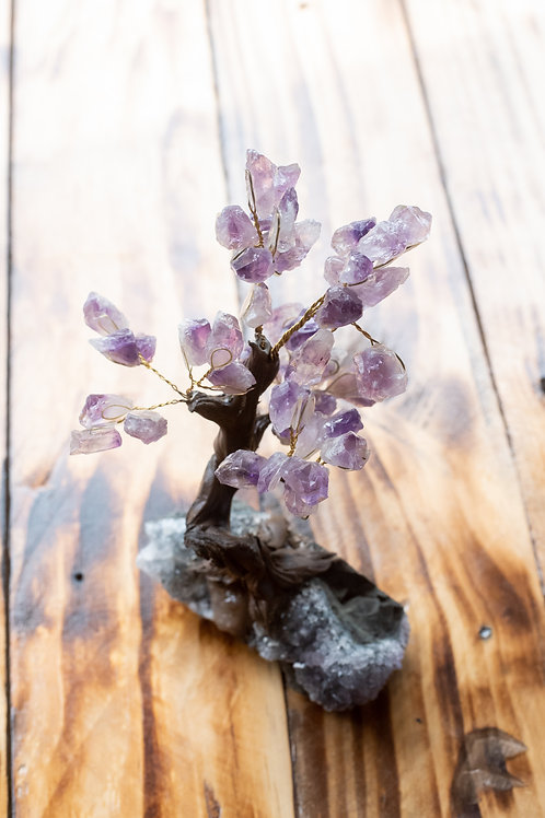 CRYSTAL TREE MEDIUM-SMOKEY QUARTZ & AMETHYST