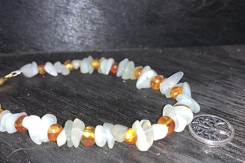 Bracelet- Green Prehnite, Amber tree of life charm