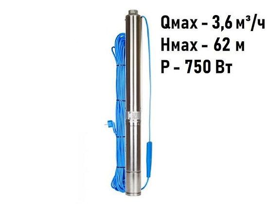 Скважинный погружной насос Aquario ASP1.8E-50-90 центробежный умный для воды из скважины колодца