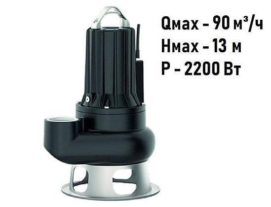Pedrollo MC 30/70 трехфазный погружной фекальный насос с ДВУХКАНАЛЬНЫМ колесом для канализации