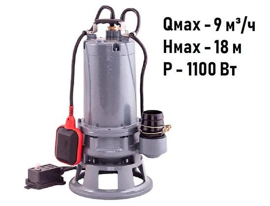 Погружной дренажный фекальный насосAquarioGRINDER-100срежущим механизмом для откачивания грязной воды стоков канализации