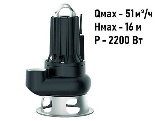 Pedrollo VCX 30/50 погружной трехфазный фекальный насос с рабочим колесом Vortex для канализации