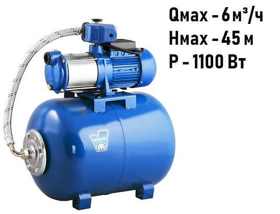 насосная станция многоступенчатаяAquario AMH-100-6S гидроаккумулятор 24 л повышение давления воды частного дома