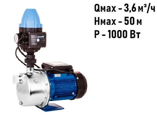 адаптивная насосная станция насос-автоматAquario AJS-101A нерж для повышения давления воды частного дома, скважина колодец