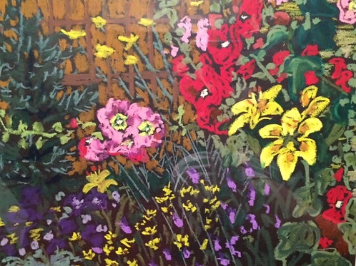 "Backyard Flower Garden-original oil pastel--11 x 14"""