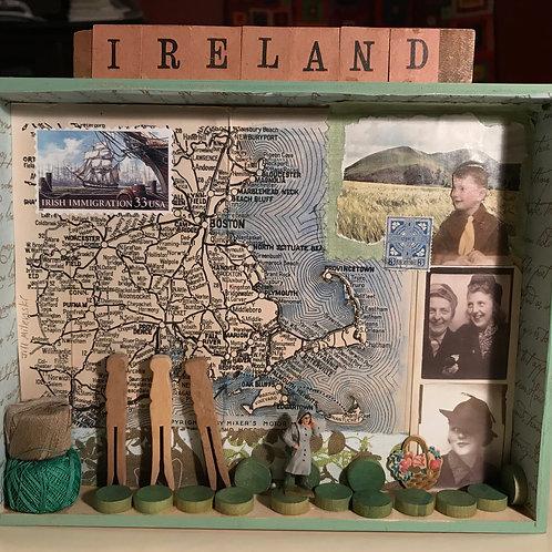 """Immigrant Series:Ireland"" 3D assemblage"