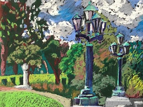 """""""Lanterns at the Art Museum""""-Original Oil Pastel 16 x 20"""""""