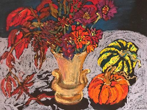 """Autumn Still Life""  -Original oil pastel 9 x 12"""