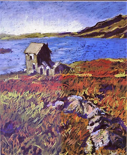 B-Oil Pastel-Small Cottage by lake-autum