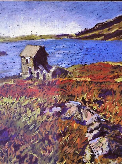 """Lake in Scotland""-Original Oil Pastel-16 x 20"""