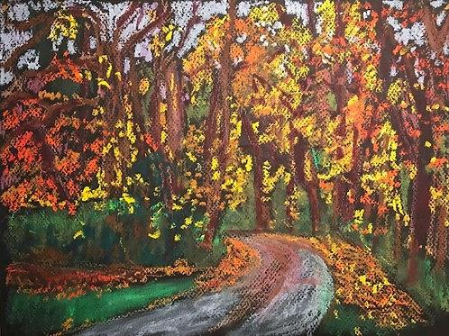 """Bend in the Road in Fall ""-original oil pastel-9x 12"""