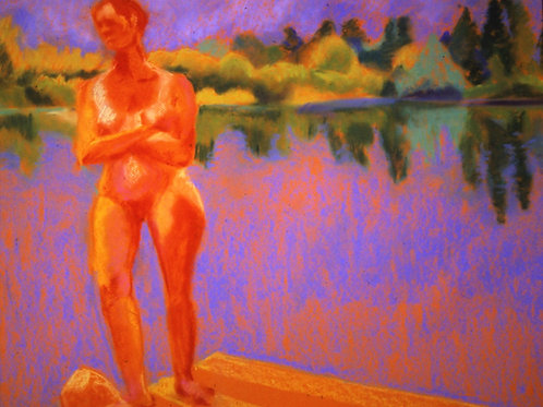 """On the Pier - Oxbow""-Original Pastel  18 x 24"""