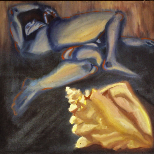 """Male Nude with shell-original Oil Painting- 12 x 12"""""""