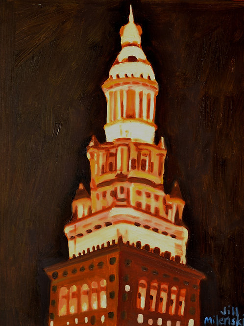 """""""Terminal Tower - Cleveland"""" - original oil painting 11 x 14"""""""