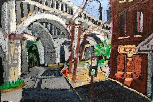 """Under the Detroit Superior Bridge-original oil pastel--8 x 10"""""""