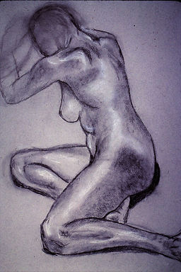Classic Nude-B&W on gray paper, Side vie