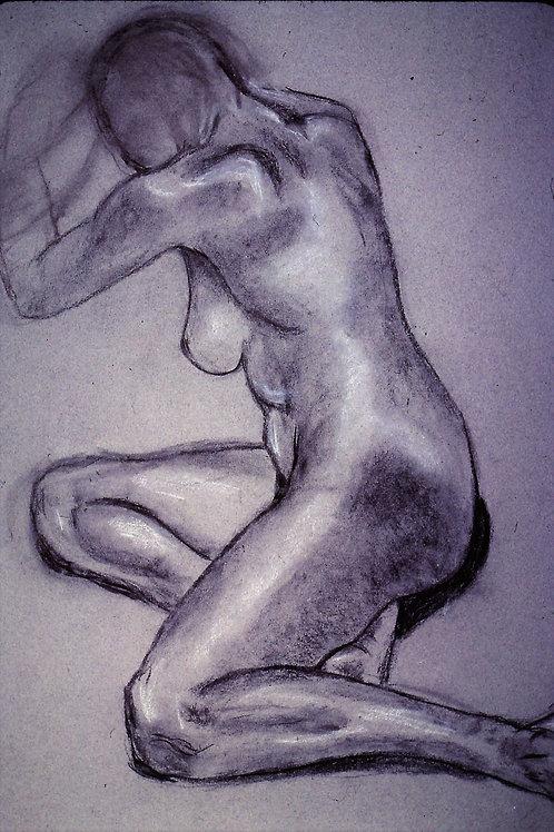 """B & W female nude - Paris""   original charcoal drawing-18 x 24"""