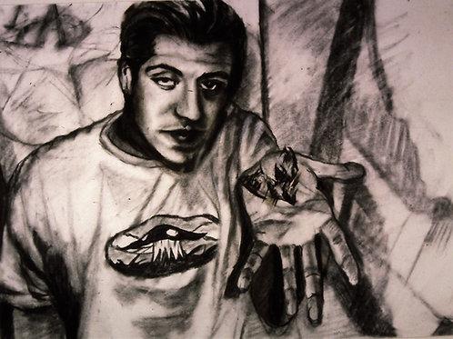 """""""Dave at 21"""", original charcoal drawing $300"""