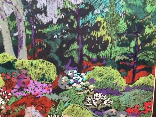 """""""Japanese Garden in Spring """"-original oil pastel-16 x 20"""""""