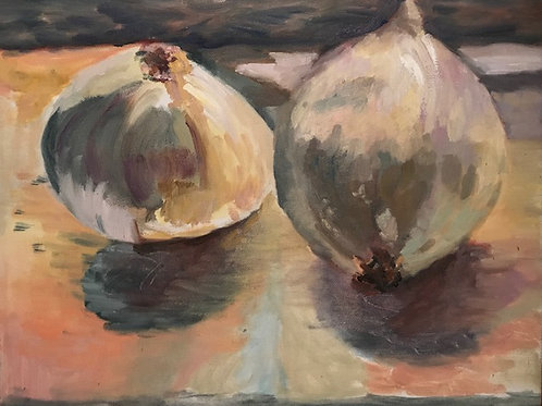 """White Onions""-original oil painting-11 x 14"""