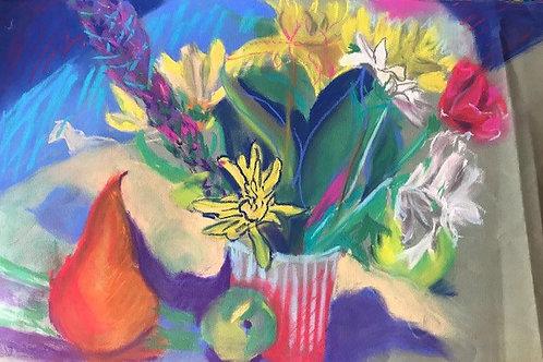 """Abstracted Still Life-original pastel--11 x 14"""""""