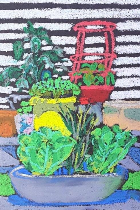 """Container Garden""-original oil pastel-9 x 12"""