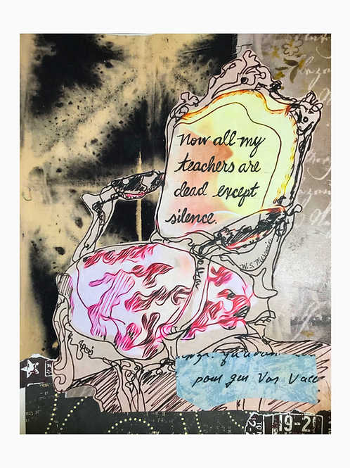"""""""Now all my teachers are dead""""  -original collage-framed- 11 x 14"""""""