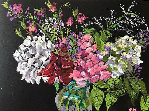 "Hydrangea Bouquet-original oil pastel--11 x 14"""