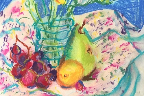 """Colorful Still Life with Grape & Pears-original pastel--8 x 10"""""""