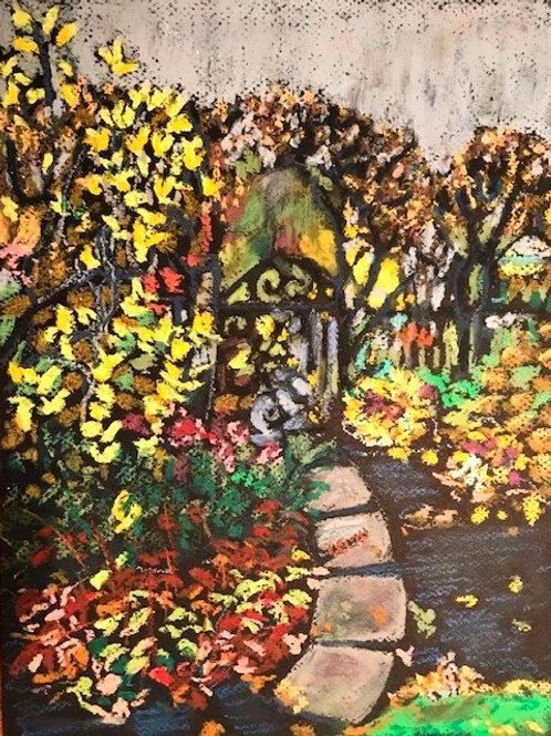 """Gate-Botanical Garden in Fall ""-original oil pastel-9x 12"""